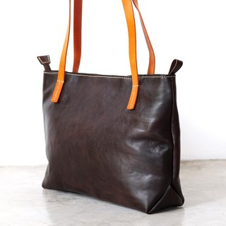 Dark Brown Leather Zipper Tote Bag / Retro Leather Handbag
