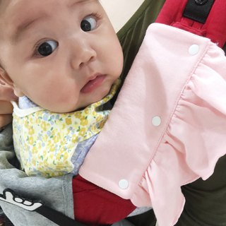 CLARECHEN organic lotus leaf saliva towel + anti-drop with pink _ 掰掰 butterfly sleeve
