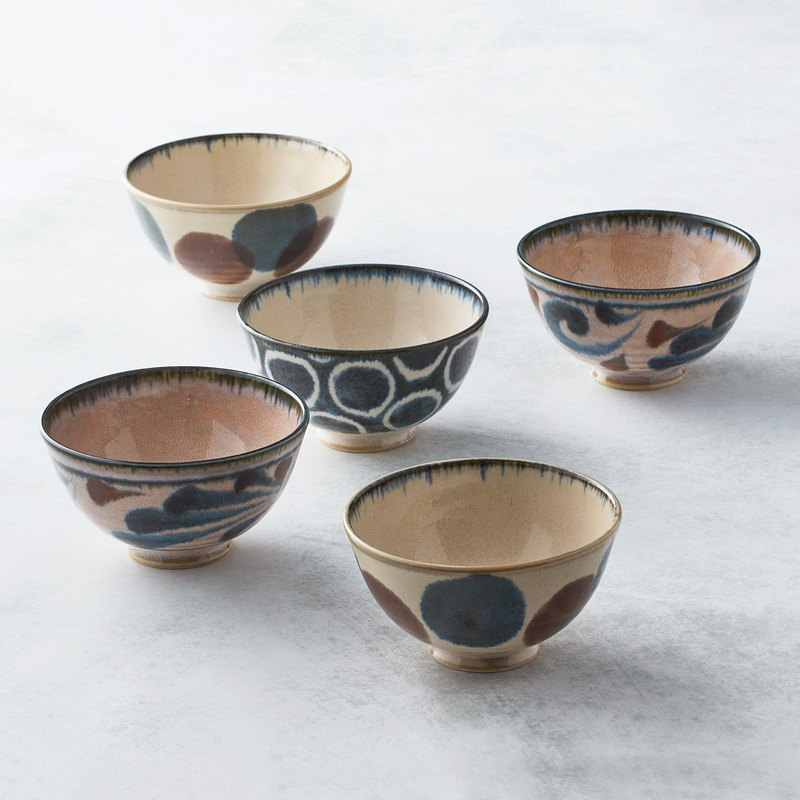 There is a kind of creativity-Japanese Mino-yaki-Pen celadon painted rice bowl set (5 pieces)-Gift box set