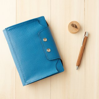 Pouch series: sky blue leather 6 hole B6 loose-leaf pencil case notebook