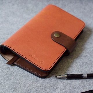 YOURS leather loose-leaf notebook A6-Size round button 4 card + L folder bright orange leather + dark wood color