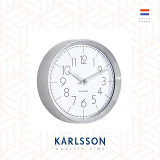 Karlsson, Wall clock Convex glass white, brushed aluminum case
