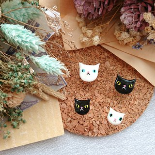 Cat ear pin earrings - Black. White. Siamese cat (single)