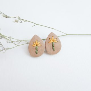 Genuine leather earring with embroidery yellow flower (Sterling silver post)