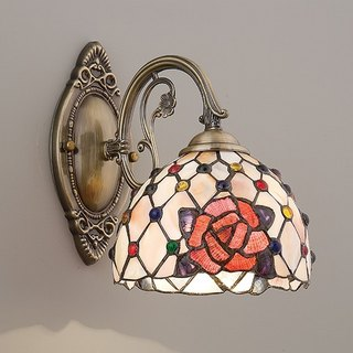 Tiffany hand-studded glass bronze wall lamp