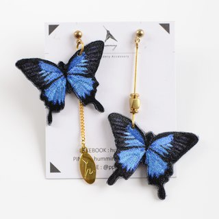 humming-Embroidery earrings / Papilio ulysses