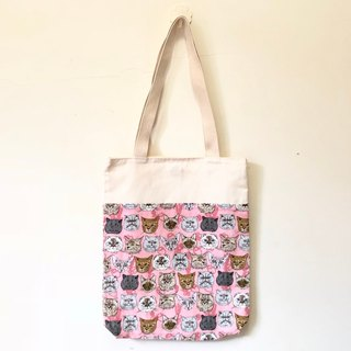 Pink cat's expression, blue wind shoulder bag / tote