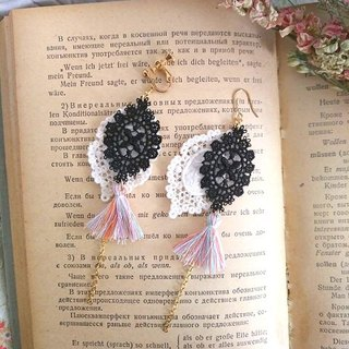 Garohands court style luxury sense of black and white lace tassel earrings earrings * color tassel D112 gift personality unique romantic