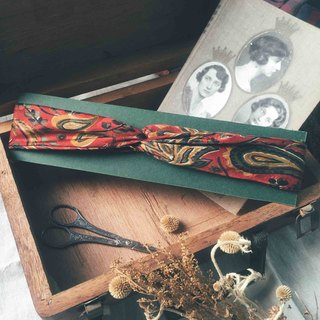 Antique tie-modified silk print headband - tropical red