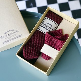 Red Knitted Wool Tie with pocket square set (with Crafted box)