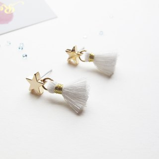 Rosy Garden white color  tassel with little star earrings