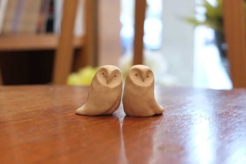 White porcelain owl hand made pottery two pieces