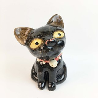 Nice Little Clay Stereo Hand Ornaments_Red Rivet Collar Black Cat 0501-04