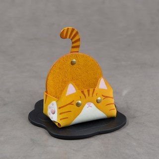 Animal series - business card holder / mobile phone holder (narrow version - yellow tabby cat)