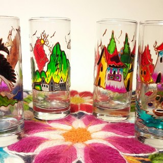 Peru Cusquenian landscape glass - large / 4 sets of cups