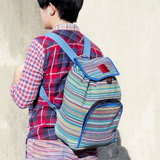 A limited edition hand-woven natural rainbow colorful canvas bag / backpack / backpacks / shoulder bag / bag - Natural feel colors blue sky