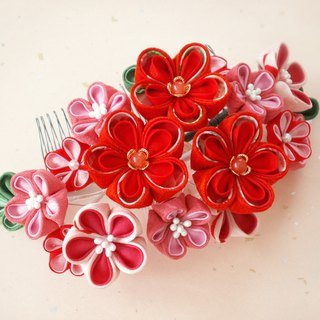 [New] hair ornament for adult ceremony 【hair ornament like big bouquet · red】