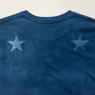 Indigo dyed 藍染 organic cotton - BLUE STAR DARK TEE 星