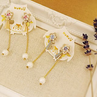 HUKUROU Crystal Flower Pearl Earrings