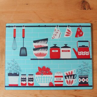Britain imported Rayware Nordic kitchen totem glass cutting board / placemat / insulation pad (blue) - spot