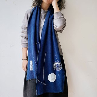[Fasti Years Old] Indigo Blue Dyeing and Dyeing Cotton Terry Scarf