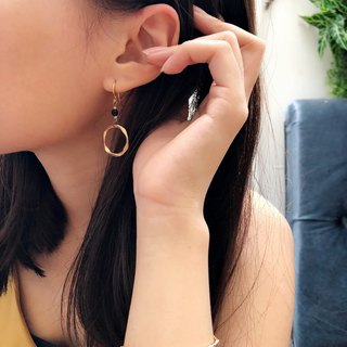 Anniewhere | Small Personality | Geometric Mist Gold Blue Sand Earrings (Chooseable)