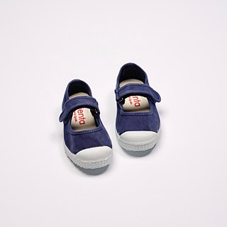Spanish canvas shoes Mary Jane washed old dark blue fragrance shoes can be washed 76777