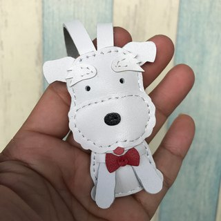 Leatherprince Handmade Leather Taiwan MIT White Cute Schnauzer Handmade Leather Charm Small size