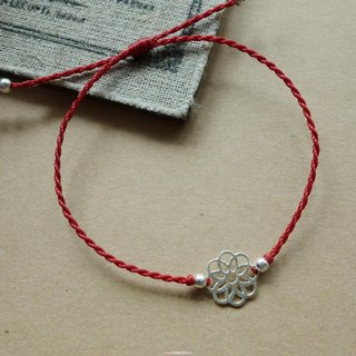 + ~ M ~ Chinese style flowers bear thin red line bracelet Japan wax Brazilian wax line / 925 silver bracelet