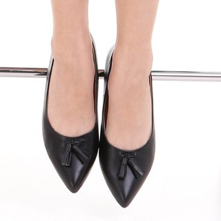 JACKIE; All-Day Pointed Ballet Flats, 100% Genuine Leather Black