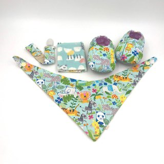 Animal tribe (light blue bottom) - toddler shoes / baby shoes / baby shoes + single buckle sling clip + scarf + handkerchief