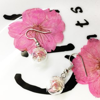 Glass Ball Drop Earrings - Koharu Sakura - Upgraded 925 Pure Silver Ear Needle Service