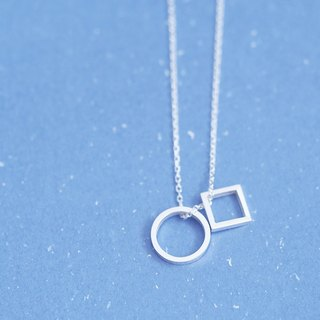 Circular & square necklace silver 925