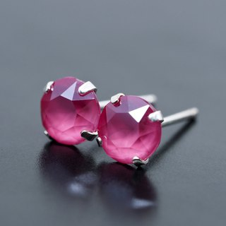Pink Swarovski Crystal Earrings, 925 Sterling Silver, 6mm Round