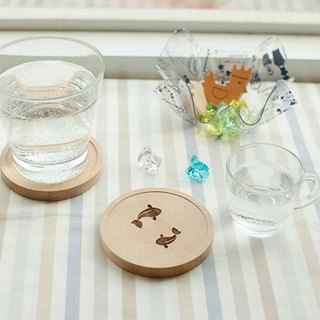 [waterproof wooden coaster] water story squid goldfish picnic kitchen must-have small things