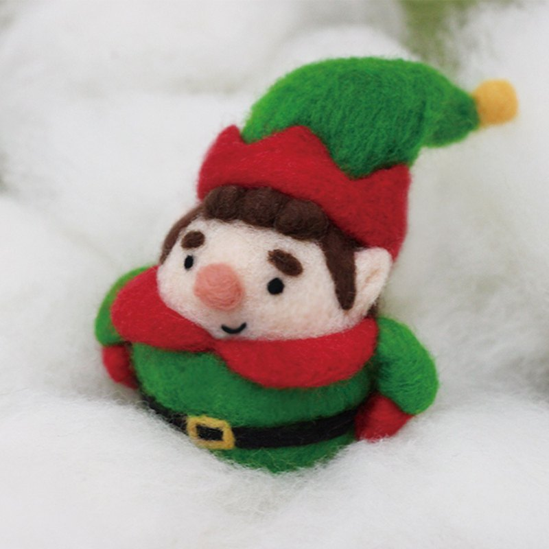 聖誕交換禮物(附影片教學)聖誕綠精靈圓滾滾羊毛氈材料包