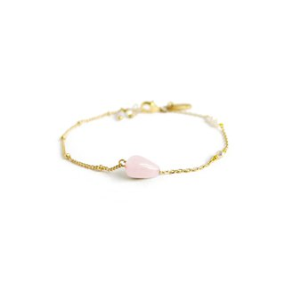 Ficelle | Handmade Brass Natural Stone Bracelet | [Pink Crystal] Walk with You - Bracelet