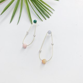 小 小 asteroid drop earrings pearl ear clips minimal earrings