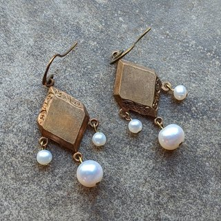 Pearl Drop Earrings With Vintage Brass Findings