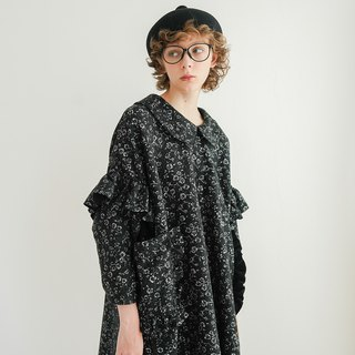 Black pattern flower dress long sleeve shirt - imakokoni
