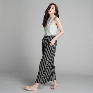 Culotte Trousers - Black Stripes