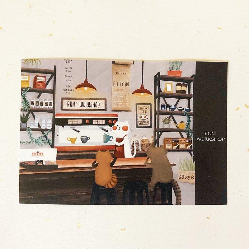 嚕尼插畫明信片-白貓咖啡廳
