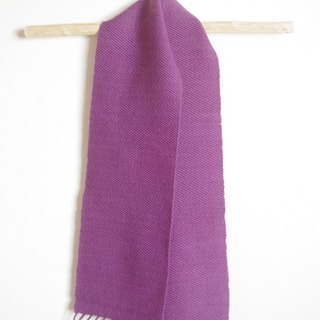 Purple wool mini scarf Herb weed dyed log wood hand woven