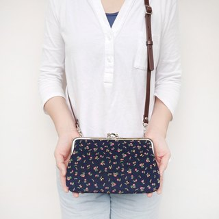 Small red flower two shoulder shoulder bag / mobile phone bag / mouth gold package [Made in Taiwan]
