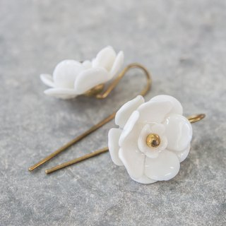 Plum ~ white porcelain flower hook earrings ~ size S