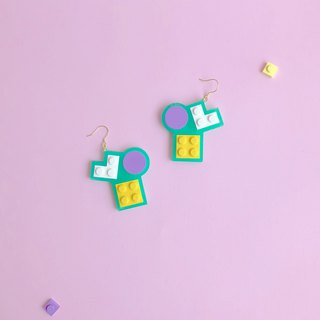 Natural  Green Mosaic Blocks Earrings