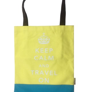 Keep Calm & Travel On Book Tote - Yellow - Blue