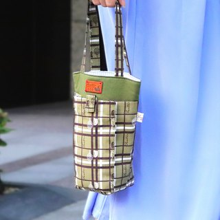 Thick green mobile phone beverage bag ( plaid block) Matcha green