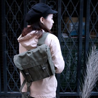 Tsubasa.Y Antique House Military Backpack, Military Canvas Covered Back Military Bag