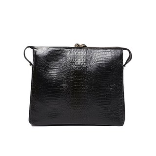 Jimmy Clutch Bag / with strap / cowhide / black / limited